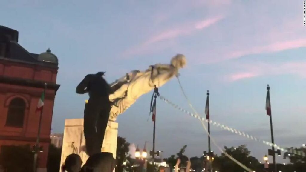 1593926654 Manifestantes de Baltimore derrubaram a estatua de Cristovao Colombo e 1024x576 1