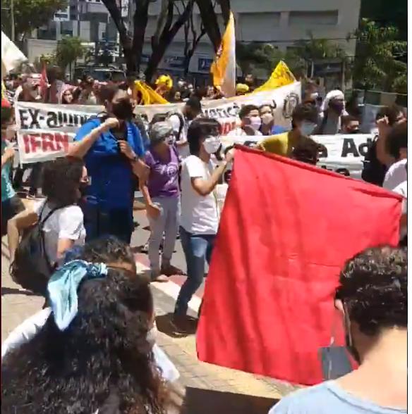 Estudantes fazem novo protesto contra reitor temporário do IFRN