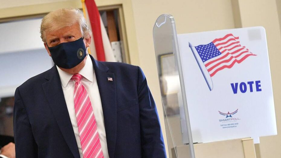 Donald trump vota antecipadamente em west palm beach, na flórida