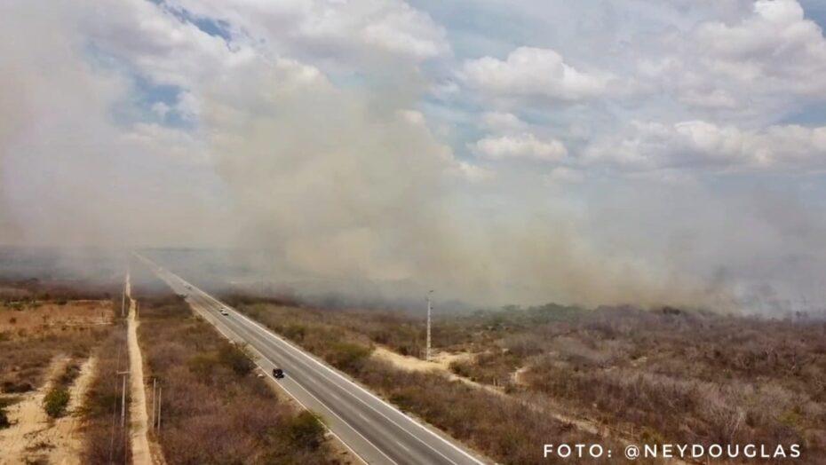 Incêndio atinge área de mata próximo a br-304 no oeste potiguar