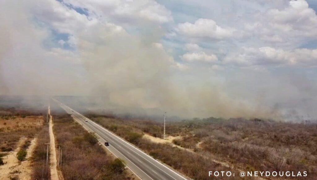 Incêndio atinge área de mata próximo a br-304 no oeste potiguar; veja vídeo