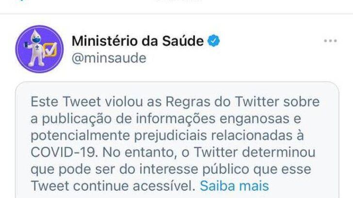 Twitter marca publicação do ministério da saúde sobre covid-19 como enganosa
