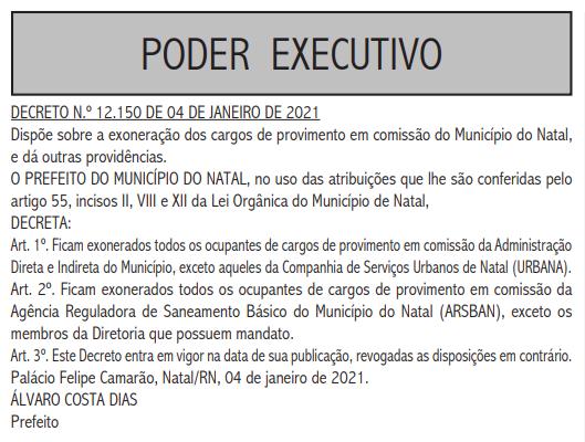 Prefeito Álvaro Dias exonera todos os cargos comissionados