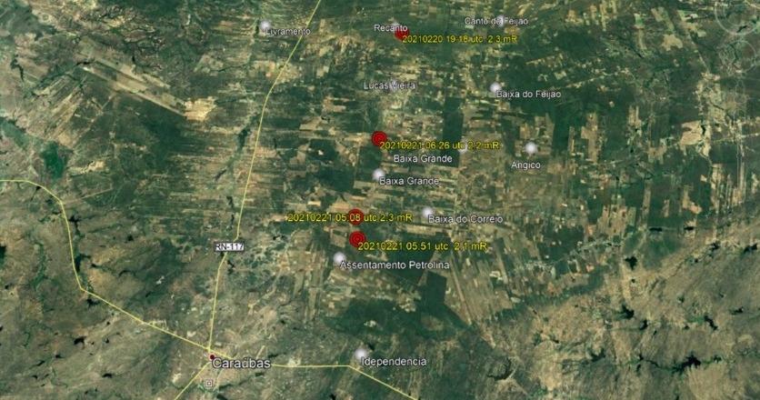 Em caraúbas, 11 tremores de terra são registrados em menos de 3 dias
