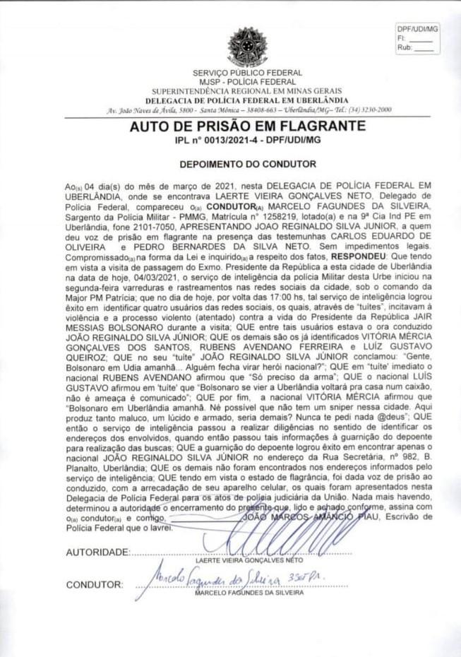 Polícia prende em uberlândia homem que postou incitação a atentado contra bolsonaro