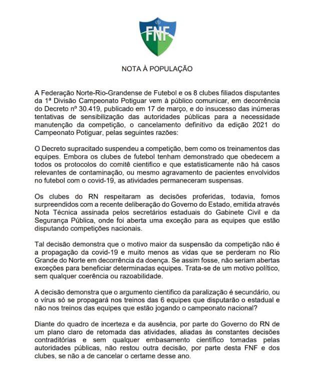 """Campeonato potiguar 2021 é cancelado: """"movimento político sem coerência ou razoabilidade"""""""