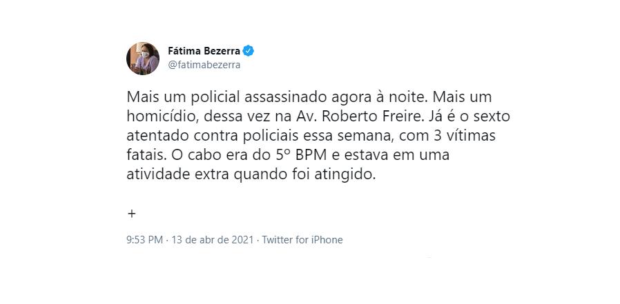 """Nas redes sociais, governadora do rn diz que pm morto em natal estava fazendo """"atividade extra"""""""