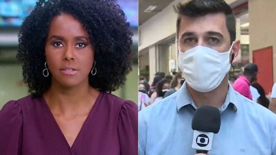 Repórter é interrompido com grito de 'globo lixo', e maju rebate: 'tá trabalhando'