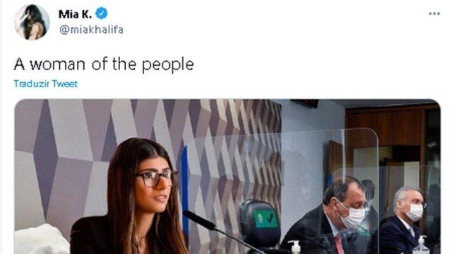 Mia khalifa posta montagem dela própria na cpi após ser mencionada por senador