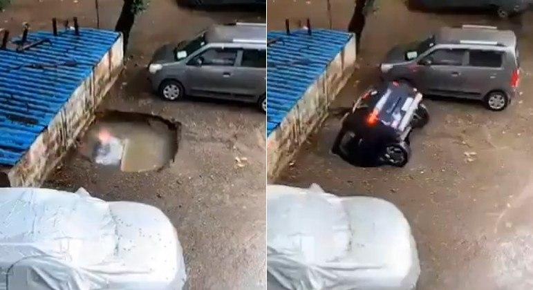 VÍdeo: piso cede e carro estacionado é engolido por cratera