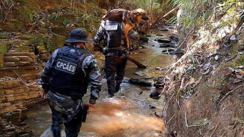 Cachorro que ajudava nas buscas por lázaro barbosa é carregado nas costas por pm após se ferir em rio