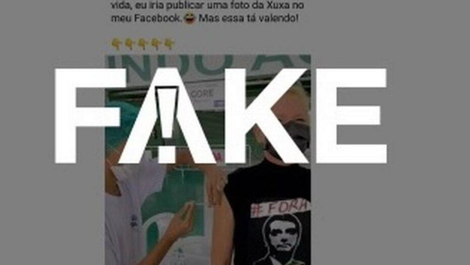 É #fake foto que mostra xuxa com camiseta com a inscrição 'fora bolsonaro' ao ser vacinada