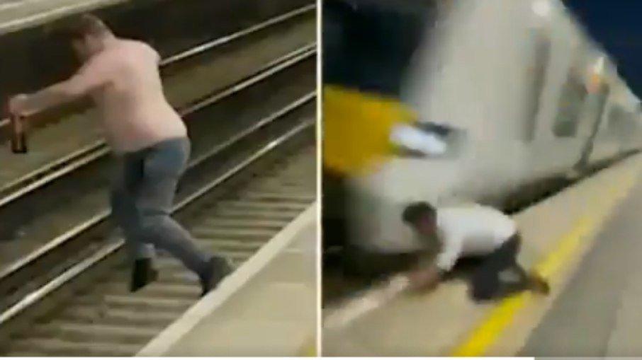 VÍdeo: homem bêbado arrisca própria vida e pula em trilho antes de trem passar