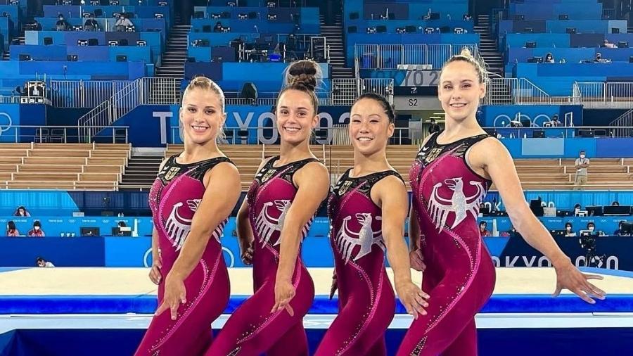 ginastas alemas se apresentam com calcas em toquio v x