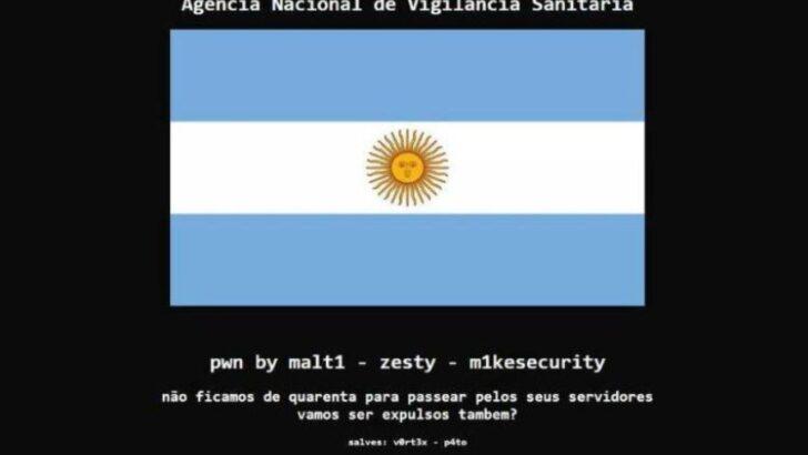 """Após polêmica, site da anvisa é hackeado e """"ganha"""" bandeira da argentina"""