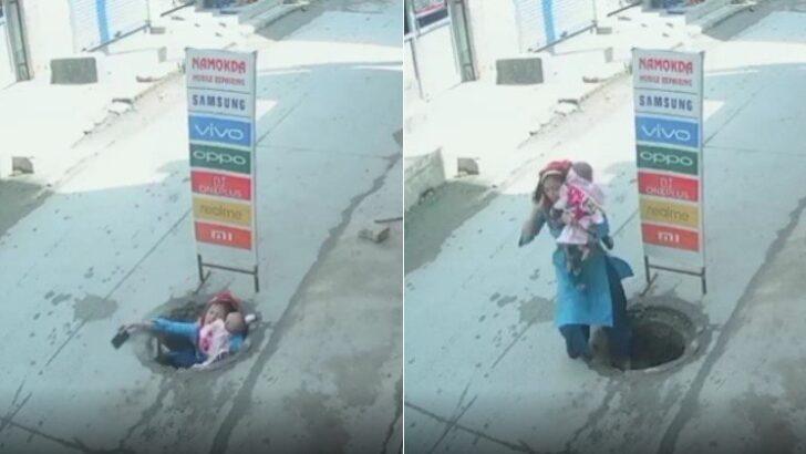 Vídeo mostra mulher com bebê no colo caindo em bueiro enquanto fala ao celular