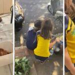 Menina leva marmita para coletores de recicláveis que não tinham o que comer na rua